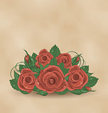 Vintage cute card with bouquet roses
