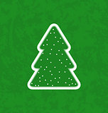 Green paper cut-out christmas tree
