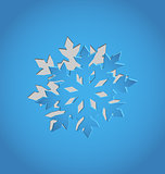 Cut out Christmas snowflake, blue paper