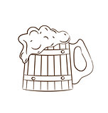 Wooden mug with full beer isolated on white background