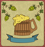 Vintage card with wooden mug beer