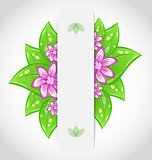 Bio concept design eco friendly banner with green leaves and flo