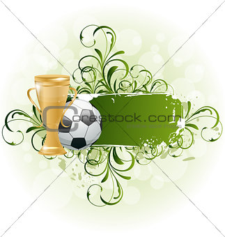 Grunge floral football card with ball and prize
