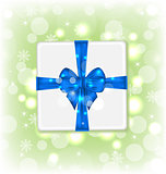 Gift box with blue bow for your party