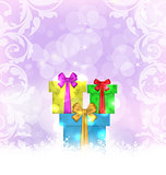 Set Christmas gift boxes on light background