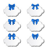Collection beautiful labels with blue gift bows