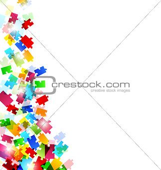 Abstract background with set colorful puzzle pieces