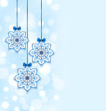 Christmas three snowflakes with bows