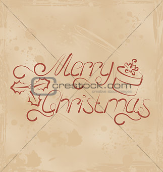Calligraphic Christmas lettering, grunge background