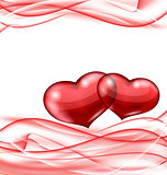 Cute hearts, Valentine wavy background