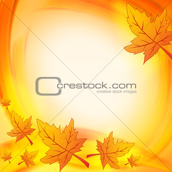 autumn leaves over orange yellow background