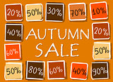 autumn sale and percentages in squares - retro orange label