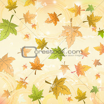 autumn leaves over old paper retro background