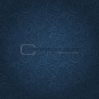 Abstract Dark Blue Faded Waving Swirl Seamless Background