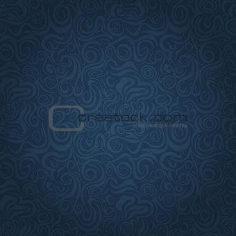 Abstract Dark Blue Faded Waving Swirl Seamless Background