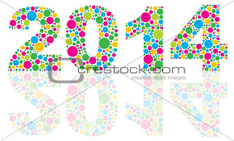 2014 Silhouette with Colorful Polka Dots