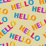 Hello Colorful Words in Seamless Pattern