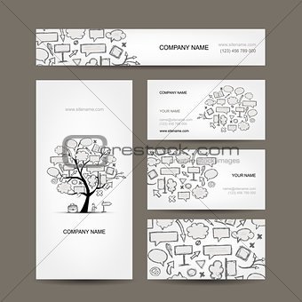 Business cards collection with frames tree design