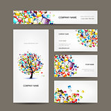 Business cards collection with web tree design