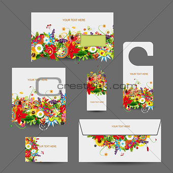 Corporate business style design: envelope, cards, label