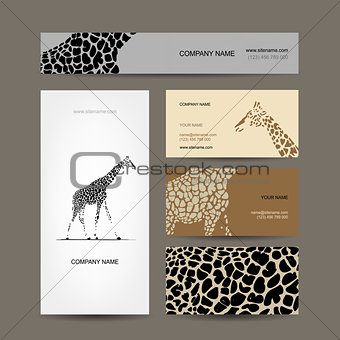 Business cards collection, giraffe pattern