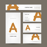 Business cards collection, wooden letter A