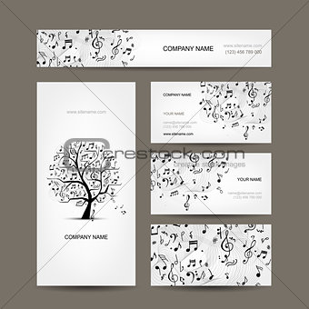 Business cards collection with music design