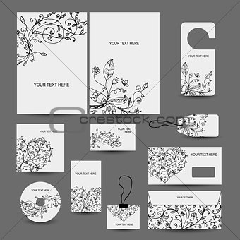 Corporate business style design: folder, labels, cards, envelope, cd cover