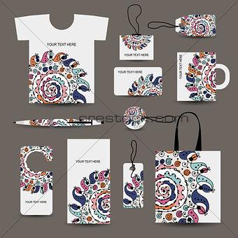 Corporate business style design: tshirt, labels, mug, bag, cards