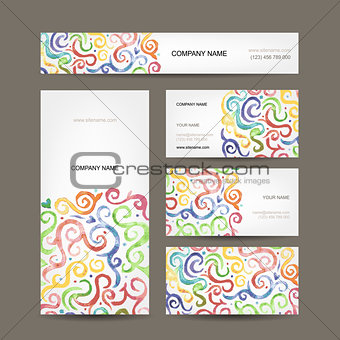 Business cards collection with watercolor waves design