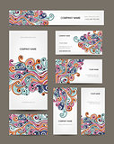 Business cards collection, abstract waves design