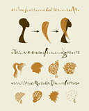 Female head and set of hairstyles for your design