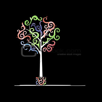 Art tree design with watercolor waves