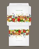 Envelope template, floral design