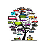 Tree with cars, transportation concept for your design