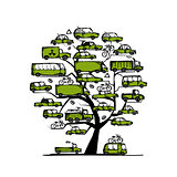 Tree with green cars, transportation concept for your design