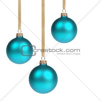three blue christmas balls hanging on ribbon