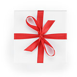 white textured gift box with red ribbon percent symbol