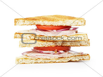 toasted sandwich with ham, cheese and vegetables