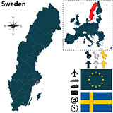 Map of Sweden with European Union