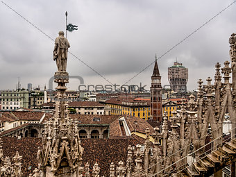 Skyline of Milan, seen from the Duomo di Milano, Italy