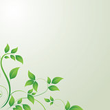 Nature concept with green leafs and space for your text on abstract grey background