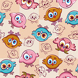 Cartoon pattern with birds.