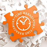 Time Management Concept on Orange Puzzle Pieces.