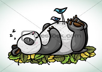 Cartoon sleeping panda and birds