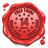 Free Trial 14 Days- Stamp on Red Wax Seal.