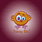 Funny cartoon bird.