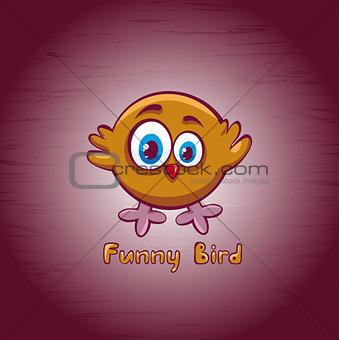 Funny cartoon bird.