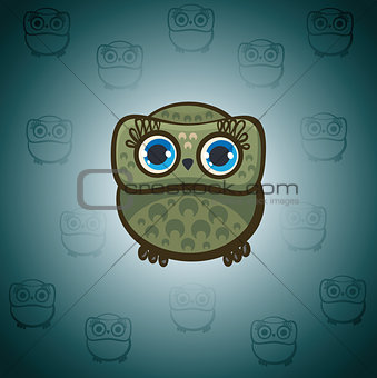 Cartoon green owl.