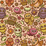 Cartoon bird pattern with owls.